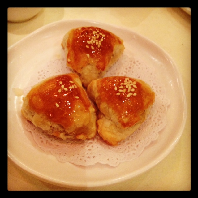 Honey roast pork puffs