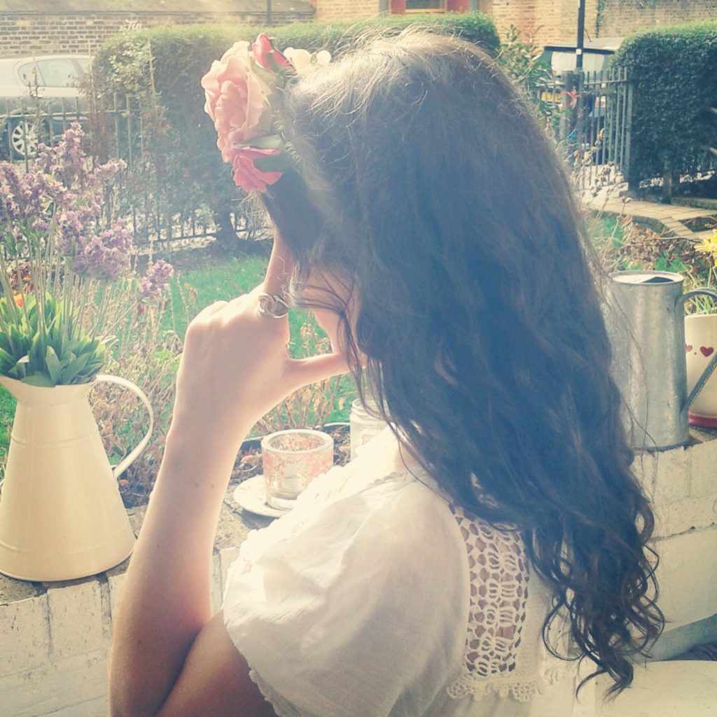 Me, feeling like a princess in my 'Loving Alice' flower crown..