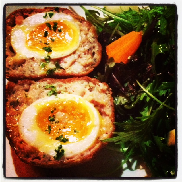 Warm Scotch Duck Egg, house marinated Central pickles & mixed leaves - £6