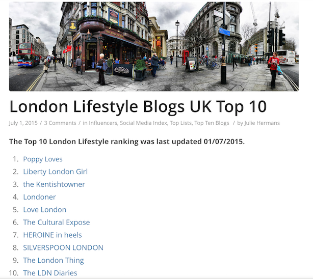 Cision top 10 London Lifestyle Blogs