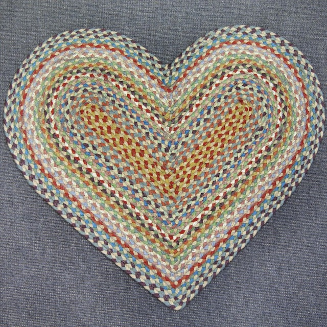 The Braided Rug Company Heart Braided Door Mat - Carnival