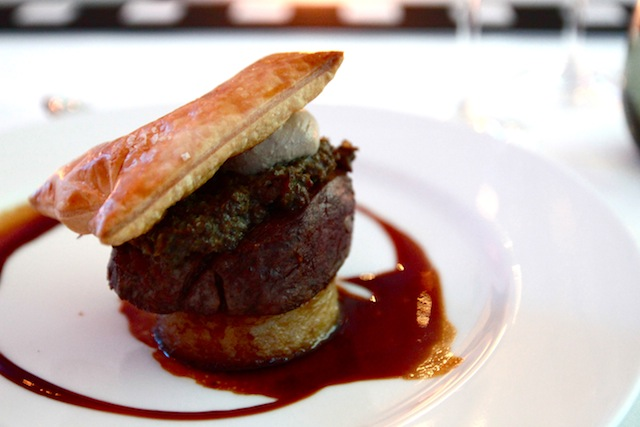Divine Comedy: Beef Wellington fillet served with creamed wild mushrooms, potato pave topped with puff pastry