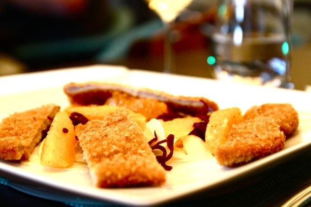 Main course: Veal schnitzel, fennel, orange, red cabbage