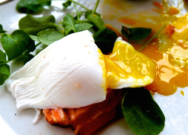 Tea smoked salmon with wilted spinach, poached eggs and yuzu hollandaise