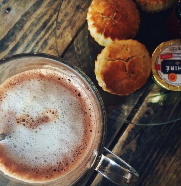 Hot chocolate and scones at Merci Merci