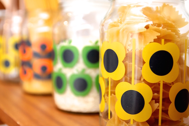 Orla Kiely designs on Douwe Egberts jars
