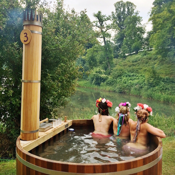 Flower fairies in a hot tub